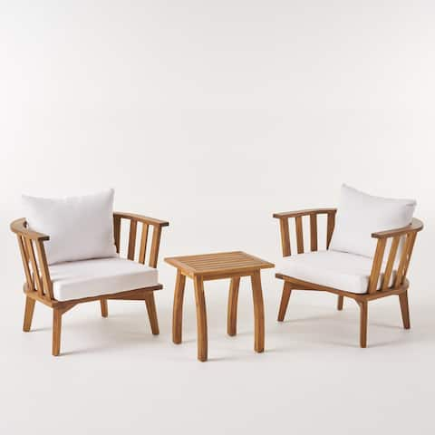 Barton Outdoor 2 Seater Acacia Wood Club Chairs and Side Table Set by Christopher Knight Home