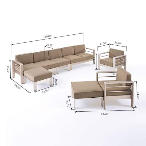 Cape Coral Outdoor Modern 7 Seater Aluminum Chat Set with Ottomans by Christopher Knight Home