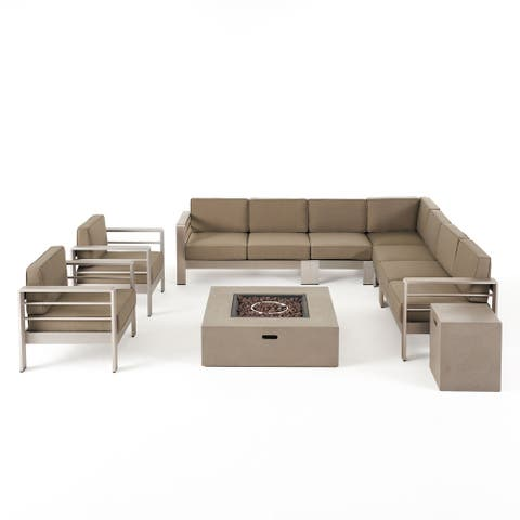 Cape Coral Outdoor 9 Seater Aluminum L-Shaped Sofa Sectional and Fire Pit Set by Christopher Knight Home