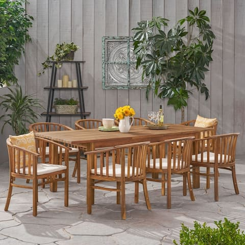 Alondra Acacia Wood Dining Set by Christopher Knight Home