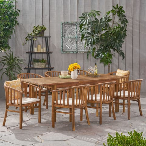 Alondra Outdoor 8 Seater Expandable Acacia Wood Dining Set by Christopher Knight Home