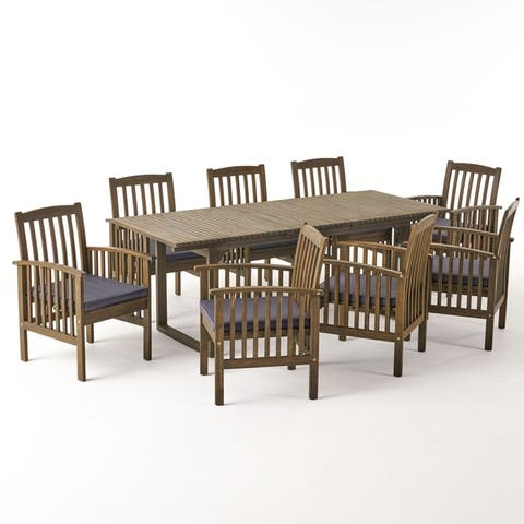 Sorrento Outdoor 8 Seater Expandable Acacia Wood Dining Set by Christopher Knight Home