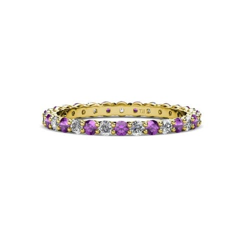 TriJewels Amethyst & Diamond Eternity Band 0.68 to 0.81 ctw 14KY Gold