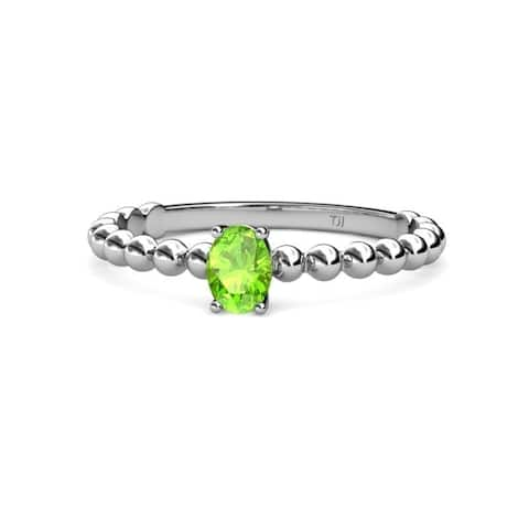 TriJewels Oval Peridot Solitaire Promise Ring 0.45 ct 14KW Gold