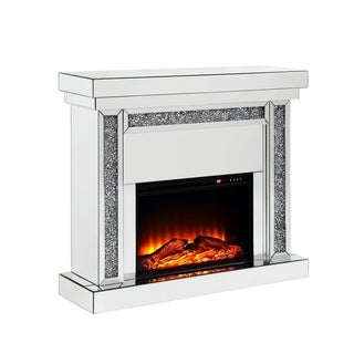 Wood and Mirror Electric Fireplace with Faux Crystal Columns, Clear