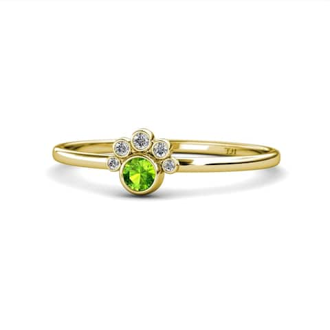 TriJewels Peridot & Diamond Paw Print Promise Ring 0.17 ctw 14KY Gold
