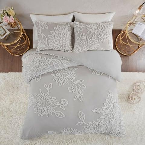 Madison Park Pansy Grey Tufted Cotton Chenille Floral Duvet Cover Set
