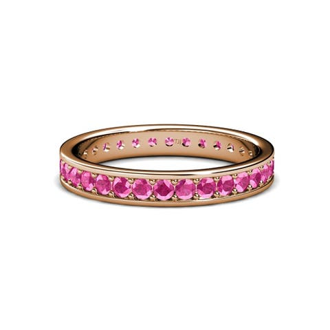 TriJewels Pink Sapphire Eternity Band 0.79-0.91 ctw 14KR Gold