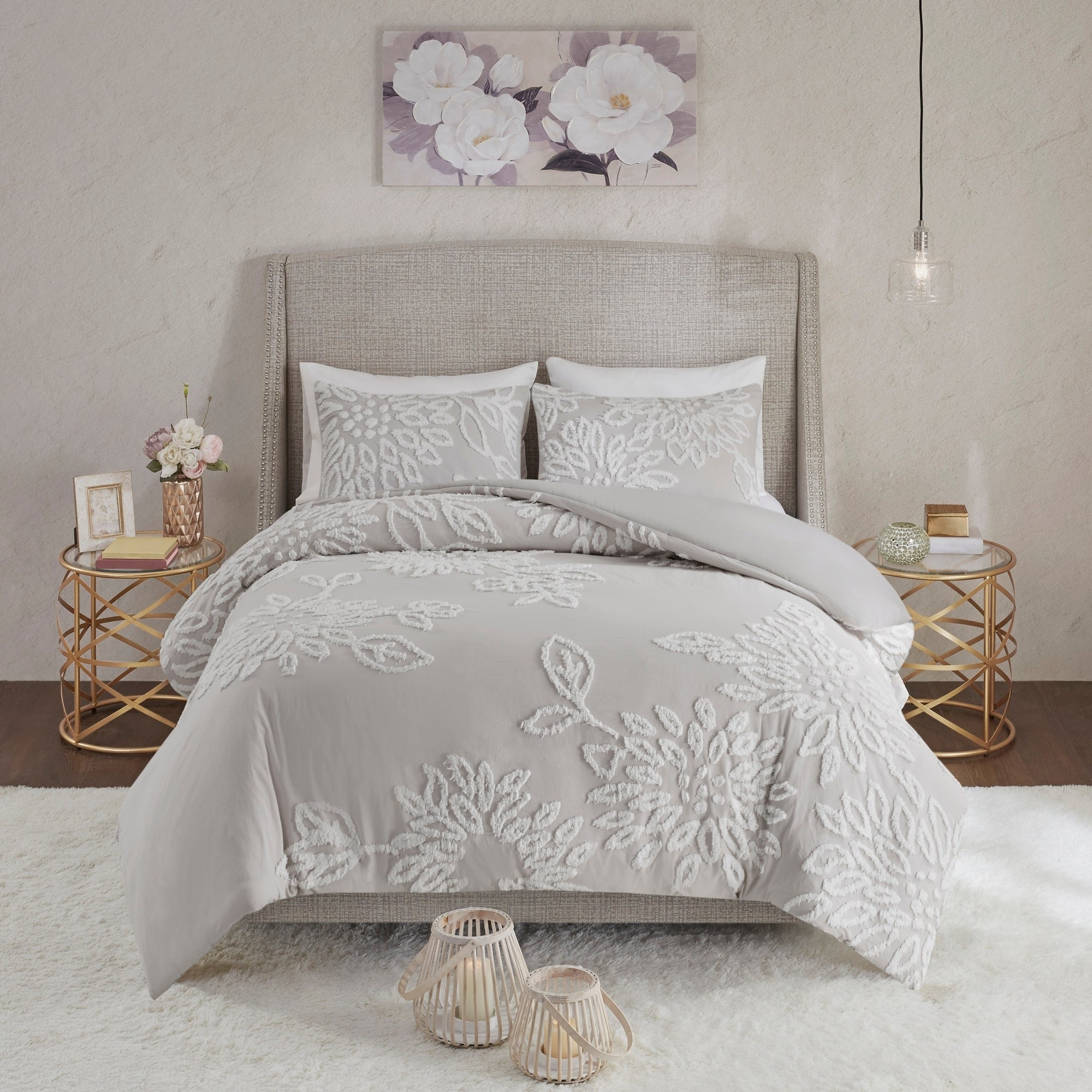 Madison Park Pansy Grey White Tufted Cotton Chenille Floral Comforter Set On Sale Overstock 28501529