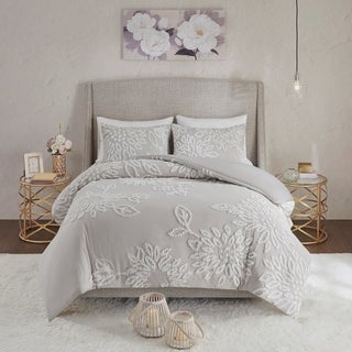 Link to Madison Park Pansy Grey/ White Tufted Cotton Chenille Floral Comforter Set Similar Items in Comforter Sets