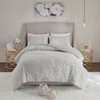 Madison Park Pansy Grey/ White Tufted Cotton Chenille Floral Comforter Set