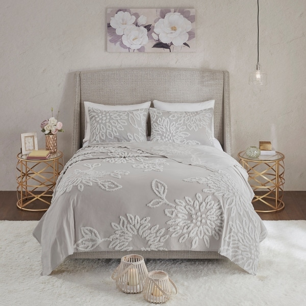 Shop Madison Park Pansy Grey White Tufted Cotton Chenille
