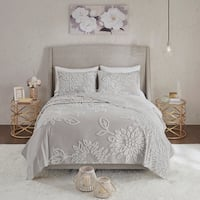 Madison Park Pansy Grey/ White Tufted Cotton Chenille Floral Coverlet Set