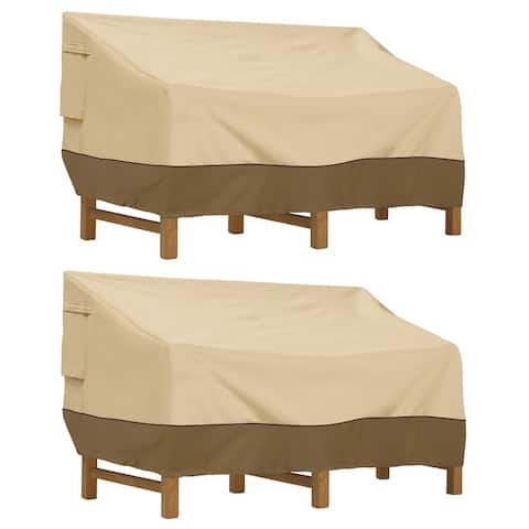 Classic Accessories Veranda Water-Resistant 88 Inch Deep Seated Patio Sofa/Loveseat Cover, 2 Pack
