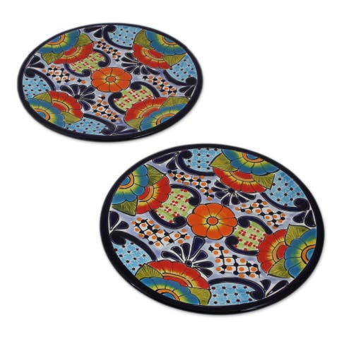 Raining Flowers Ceramic Salad Plates (Pair)