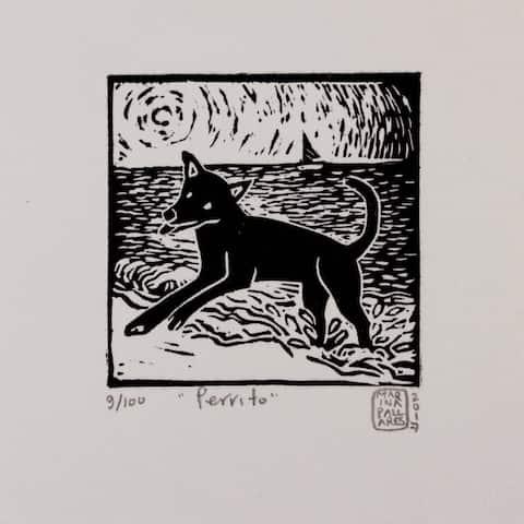 Fine Art Linoleum Print Little Dog