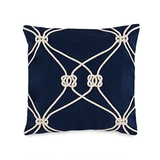"Southern Tide Royal Pine 18"" Square Rope Knot Embroidered Decorative Pillow"