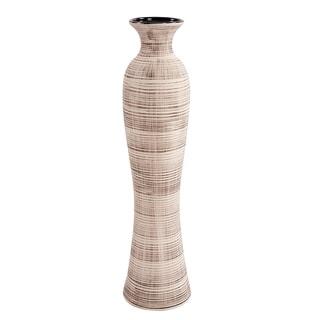 Tall Ceramic Neutral Striped Vase