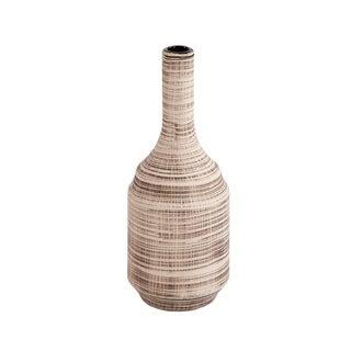 Neutral Striped Ceramic Bottle Vase, Small
