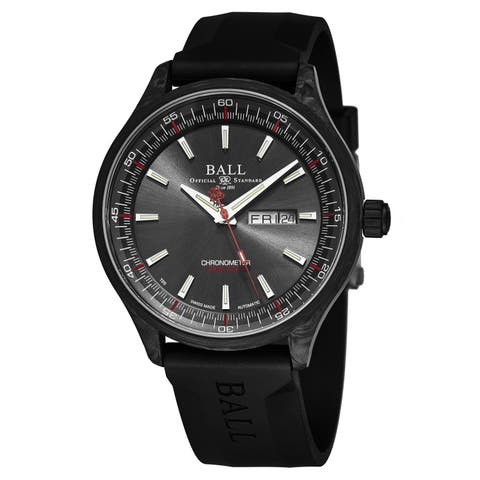 Ball Men's NM3060C-PCJ-GY 'Engineer II Volcano' Black Dial Black Rubber Strap Day Date Swiss Automatic Watch