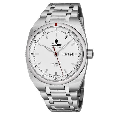 Tutima Men's 6120-02 'Saxon One' Silver Dial Stainless Steel Date Day German Mechanical Automatic Watch