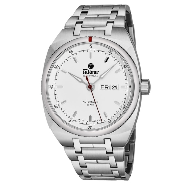 Tutima Men's 6120-02 'Saxon One' Silver Dial Stainless Steel Date Day German Mechanical Automatic Watch. Opens flyout.