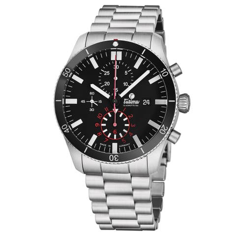 Tutima Men's 6401-02 'Grand Flieger' Black Dial Stainless Steel Chronograph German Mechanical Automatic Watch
