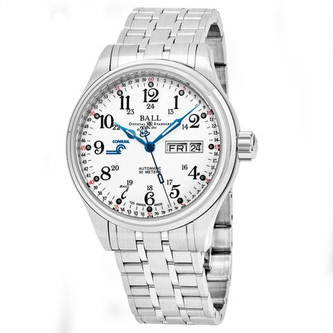 Ball Men's NM1058D-S10J-WH 'Train Cleveland' Silver Dial Stainless Steel Day Date Swiss Automatic Watch