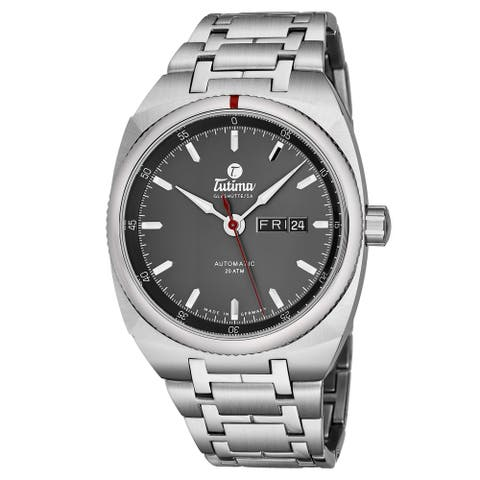 Tutima Men's 6120-01 'Saxon One' Grey Dial Stainless Steel Date Day German Mechanical Automatic Watch