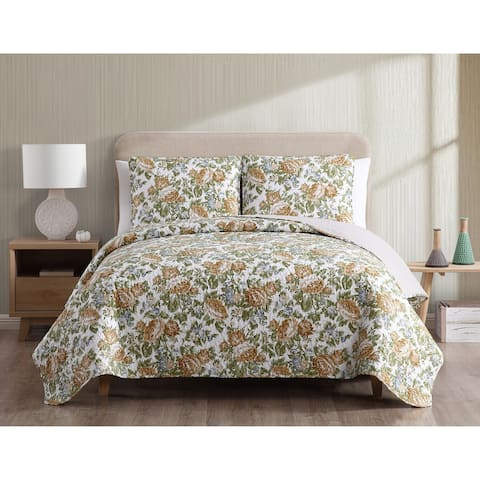 Asher Home Joyce Reversible Floral Quilt Set