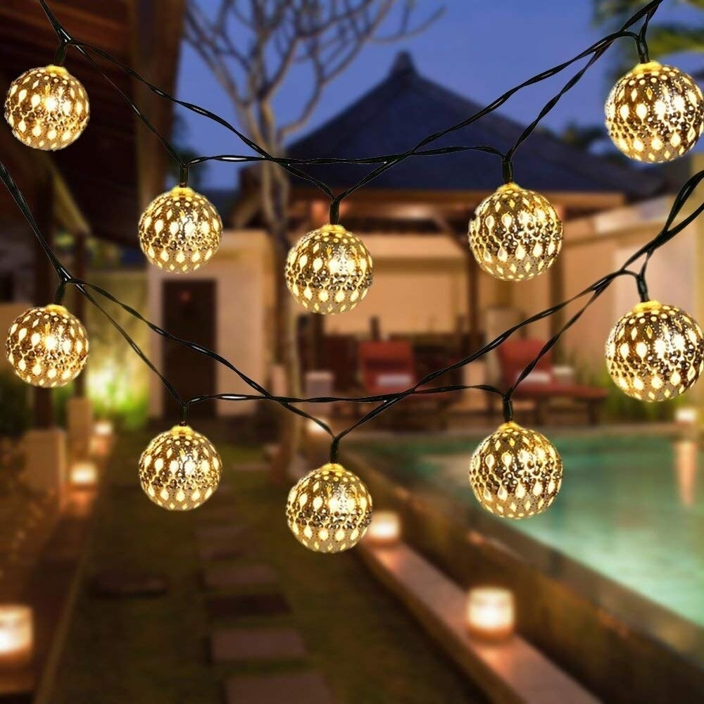 24 Ft 30 Waterproof Crystal Ball LED Fairy Lights Ou Solar String Lights Garden