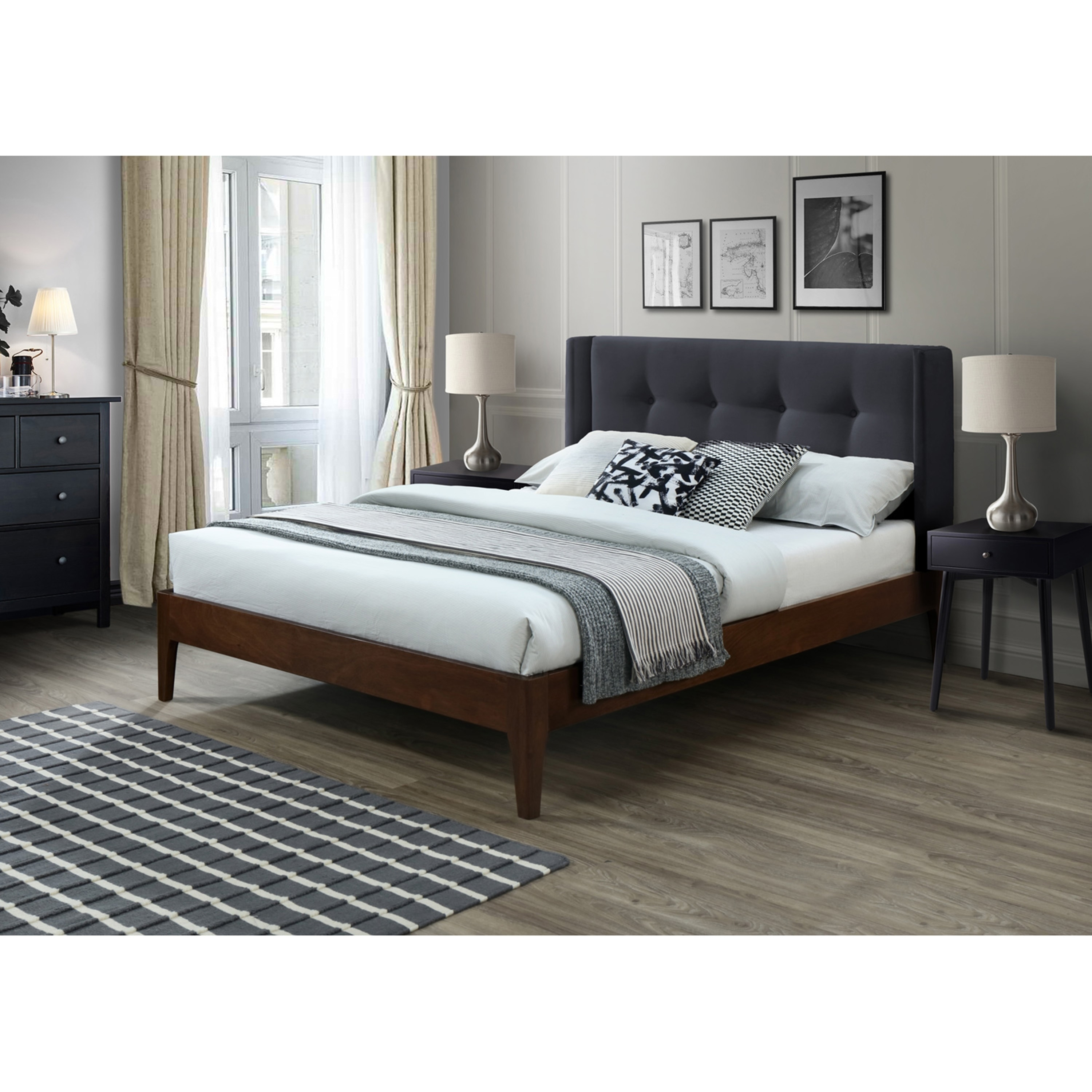 Image of: Shop Black Friday Deals On Conway Queen Mid Century Modern Wing Bed Overstock 28502468
