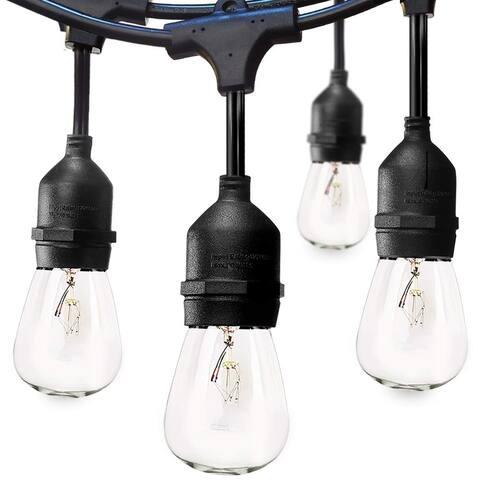 48 FT Commercial Weatherproof Outdoor String Lights 15 Hanging Sockets