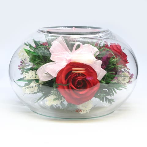 Natural Long Lasting Flowers in a Clear Glass Round Vase With Refillable Candle