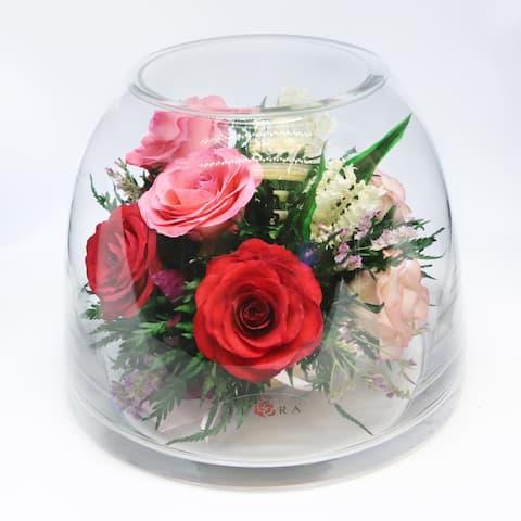 Natural Long Lasting Floral Arrangement in a Curve-Up Cylinder Glass Vase