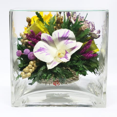 Natural Long Lasting Flowers in a Small Cube Clear Glass Vase