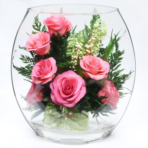Natural Long Lasting Bright Pink Roses in a Flat Rugby Glass Vase