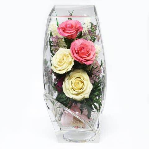 Natural Long Lasting Floral Arrangement in a Square-Top Rugby Glass Vase