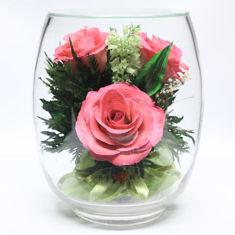 Natural Long Lasting Pink Roses with Greenery in a Tulipbud Glass Vase