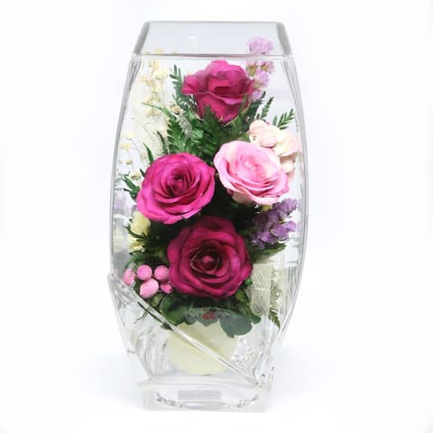 Natural Long Lasting Roses in a Square-Top Rugby Glass Vase