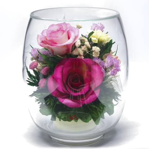 Natural Long Lasting Purple Rose in a Tulipbud Glass Vase