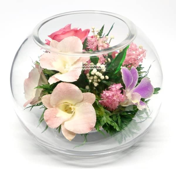 Shop Natural Long Lasting Flowers In A Sealed Round Glass Vase
