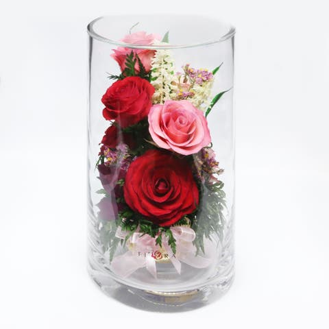 Natural Long Lasting Floral Arrangement in a Narrow Tube-7.9inch Glass Vase