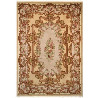 Handmade One-of-a-Kind Aubusson Wool Rug (Pakistan) - 9'9 x 14'