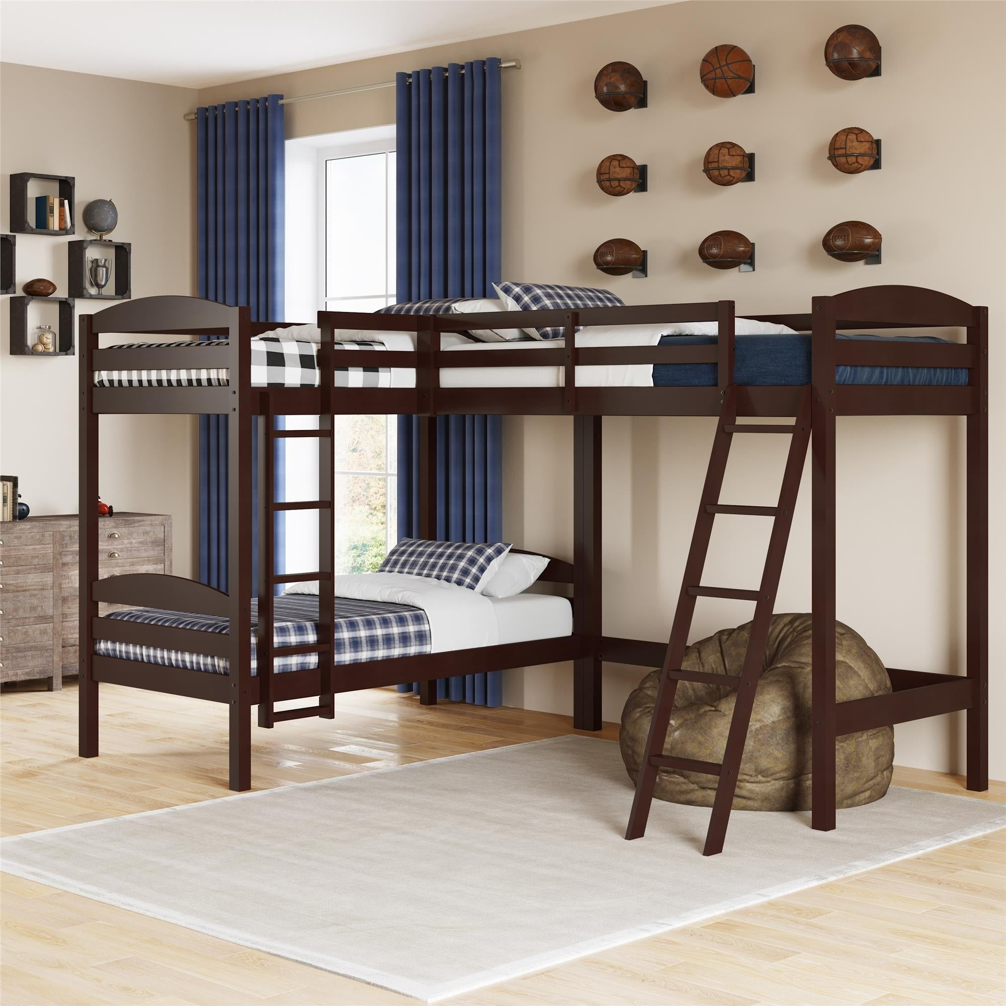 Taylor Olive Monarda Twin Size Triple Bunk Bed Overstock 28502949