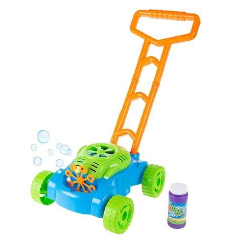 Bubble Lawn Mower Toy Push Lawnmower Bubble Blower Machine by Hey! Play! - 12 x 10.5 x 19