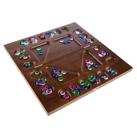 Mancala Board Game 4 Player Square Root Strategy Game Folds for Storage by Hey! Play! - Brown - 16 x 16 x 0.75