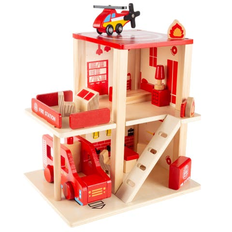Fire Station Playset Wooden Firehouse, Truck, and Helicopter by Hey! Play! - 10.75 x 8.5 x 13