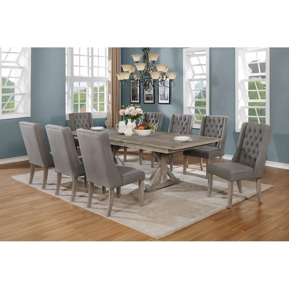 Best Quality Furniture 9 Piece Dining Set With A 18 Inch Leaf Overstock 28503038 Beige