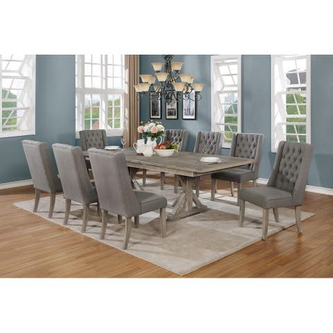 Best Quality Furniture 9-Piece Dining Set with a 18 inch Leaf